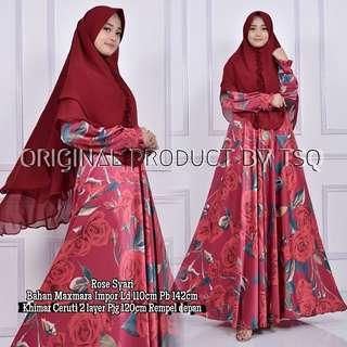 TSQ Rose syari red Rp242.000 Maxmara import ld110 pb42cm. Khimar cerutty 2 layer pj120cm. Rempel dpn.
