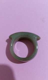 天然翡翠糯種馬鞍戒指