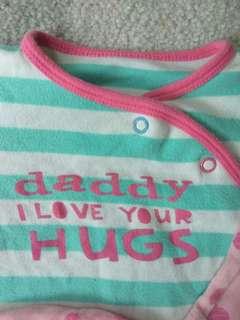 Mothercare baby sleepsuit set. Size 0-3M.