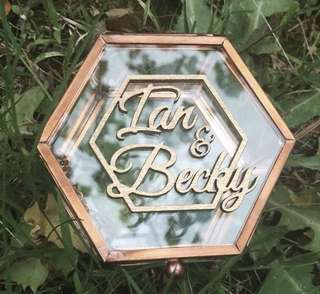 Customized glass ring box with laser cut names