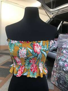 F21 Inspired Mustard Floral Smocked Peplum Crop Top