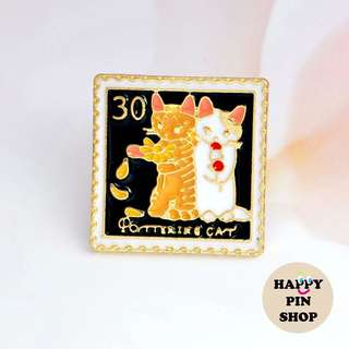 Fruity Cats - Playful Cat Stamp Collection enamel pin