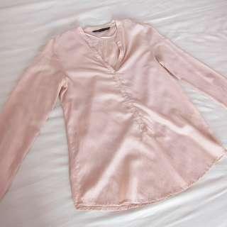 Zara nude pink blouse