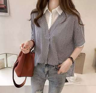 (M~4XL) Women's jacket Korean fashion casual striped lapel stitching sleeve shirt