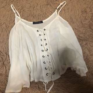 Laced-up White Camisole