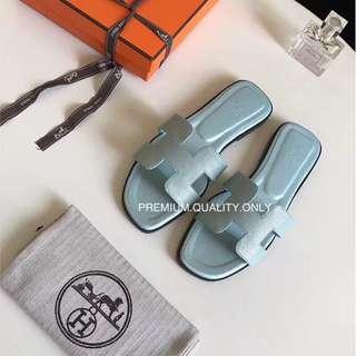 Hermes Oran Sandals - bleu ciel