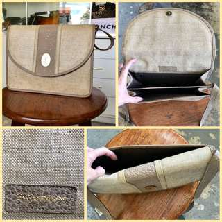 Yves Saint Laurent Coated Woven Canvass Sling Bag
