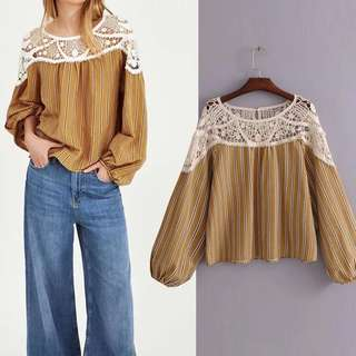 Lace stitching loose women's cotton long sleeve casual top