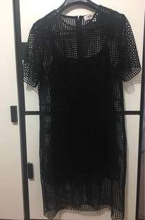 New Diane Von Furstenberg dvf black dress size 14 size L