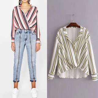Fashion color striped loose irregular women's casual shirt