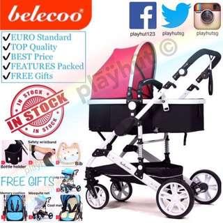 Belecoo Pink Baby Stroller Pram Cot Chair