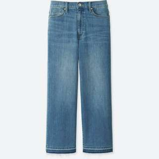 UNIQLO WOMEN High Rise Wide Leg Cropped Jeans