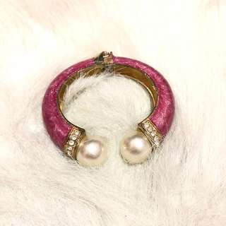 Pink Bangle with pearls & stones