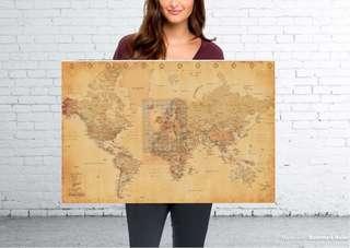 Vintage style world map