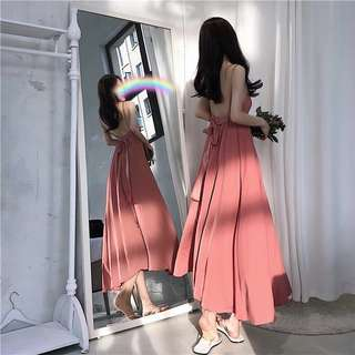 Dust Pink Backless Maxi Dress