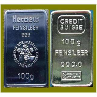 ★ or Nearest Offer - GERMANY 2x 100 Grams (6.42 Oz Troy) 999 Fine Silver Vintage bars