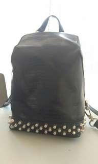 charles n keith croco stud backpack