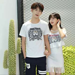 S-3XL🌟PROMO!! Couple Wear Lion with Glasses Design Tee & Tassle Short Sleeve Overall Dress
