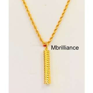 Futhong cylinder Pendant & Rope chain necklace set , 916 Gold by Mbrilliance