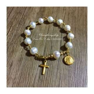 Rosary Bracelet in Fresh Water Pearls/ Gold Filled Setting