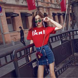 Minimei追加款✪韓系韓版歐美風百搭休閒 復古個性字母印花t恤衫圓領寬鬆套頭衫百搭上衣