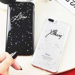 🚚 Chic Glitter Sky Customise Name Soft Phone Case