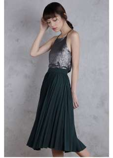 d64732e241 The Tinsel Rack TTR COURTNEY PLEATED MIDI SKIRT (FOREST GREEN)