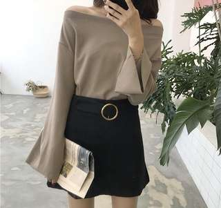Khaki Off Shoulder Blouse