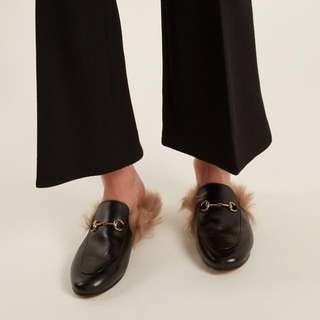 Authentic Gucci Princetown shearling-lined leather loafers
