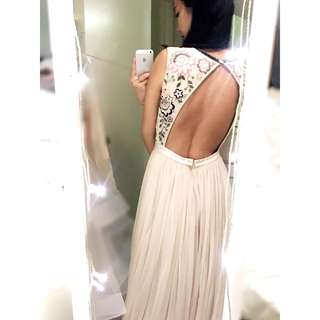 Needle & Thread Embroidered/ Embellished/ Sequinned Tulle Maxi Gown with Open Back