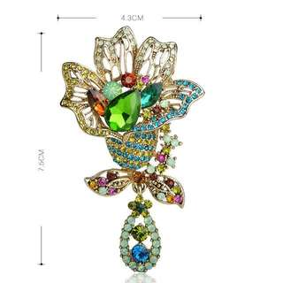 Blucome Shining Big Green Flowers Brooches For Women (Vintage Crystal Brooch)