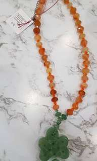 agate&swarovski necklace with aventurine chinese knot pendant