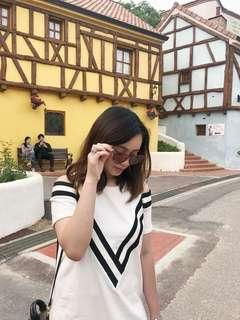H&M white cold shoulder dress