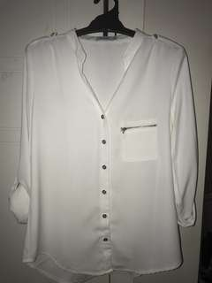 Valleygirl 3/4 length White Blouse