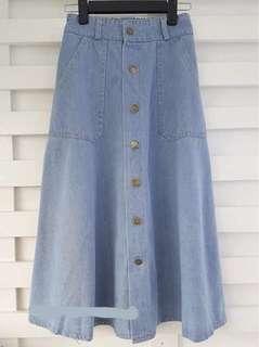 Button Down  A-line Midi Skirt