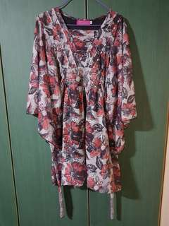Red Floral Blouse / Dress