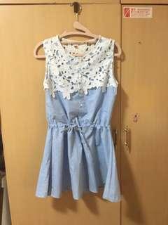 蕾絲縮腰顯瘦洋裝