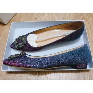 全新真品Manolo Blahnik金銀絲水鑽平底鞋(25.5公分)誠可議