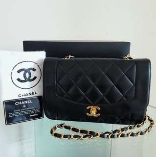 7015b64e3686 Complete Set CHANEL Diana Classic Flap Bag 9 inch with 24k Gold Hardware
