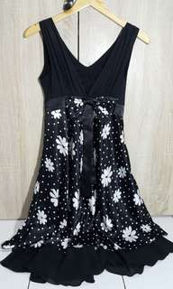 Black&White Flower Long Dress
