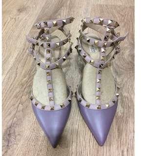 二手7成新Valentino Rockstud6.5公分紫色皮革三環鉚釘跟鞋size38.5(24.5CM)