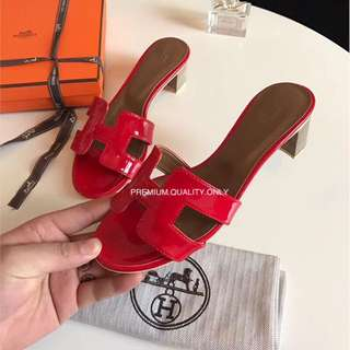 Hermes Oasis Block Sandals- patent red