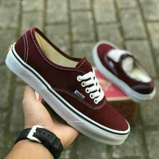 Vans authentic classic maroon white