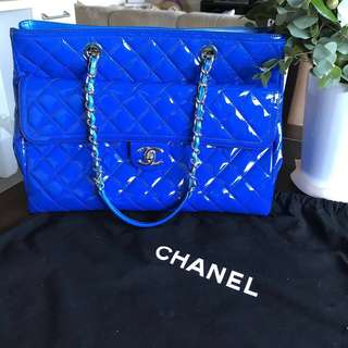 100% Authentic Chanel Blue Patent Leather Front Pocket Shopping Tote