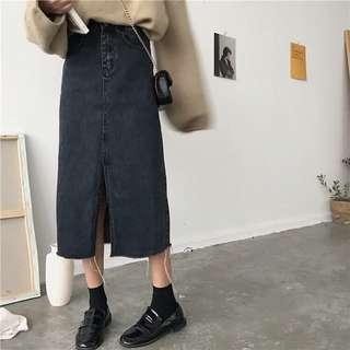 黑色牛仔長裙