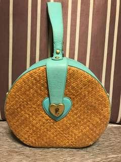 Juicy Couture 藍綠色藤籃Straw bag