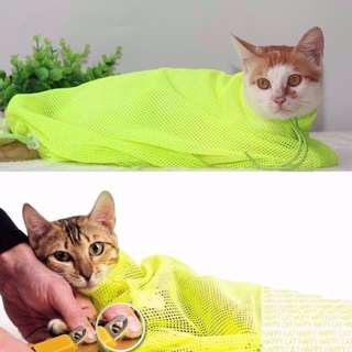 Cat in a Net Magic Bag Grooming Bathing Shower Trimming - Neon Yellow