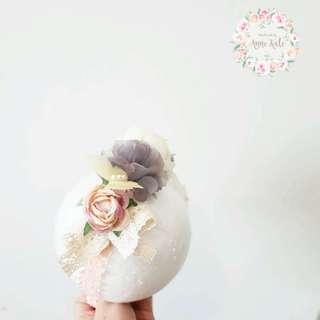 Half flower with ribbon headband