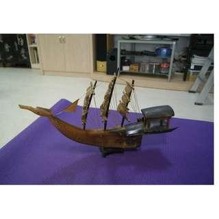 Antique Bull Honed Sailing Ship Length 50 cm Height 32 cm