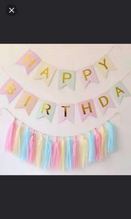 Happy Birthday Banner. Colourful with Gold Happy Birthday Bunting Banner & 15 Tassels . Unicorn